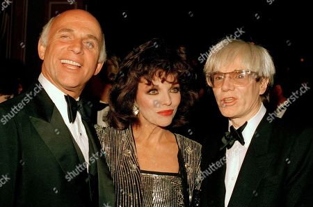 """Andy Warhol, Joan Collins, Gavin McLeod From left: actor Gavin McLeod, actress Joan Collins and pop artist Andy Warhol attended a party for """"The Love Boat"""", in Los Angeles"""