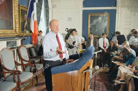 Stock Image of Mayor Edward Koch speaks to reporters at City Hall in New York, about the federal grand jury indictment of former city cultural affairs commissioner Bess Myerson. Myerson, a friend of the mayor, was named in conspiracy, mail fraud and bribery-related charges