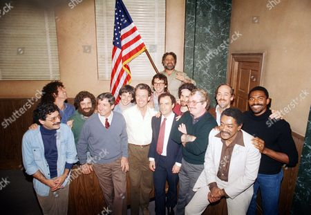 Abby Hoffman, Lee Weiner,Tom Hayden, Rennie Davis,Jerry Rubin, John Froines, Bobby Seal Abbie Hoffman waves the U.S. flag as members of the ?Chicago Seven? who were involved in the famous 1970 trial pose with actors who will portray them in the HBO movie ?The Chicago Conspiracy Trial,? in Los Angeles on . Front row from left to right are: Lee Weiner, Tom Hayden, Rennie Davis, Jerry Rubin, John Froines and Bobby Seale. Back row from left to right are: actors Robert Fieldsteele (Weiner); Michael Lembeck (Hoffman); Brian Benben (Hayden); Robert Carradine (Davis); Barry Miller (Rubin); David Kagen (Froines); and Carl Lumbly (Seale