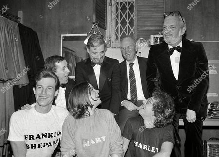 """Jim Walton, Ann Morrison, Lonny Price, Larry Fuller, Stephen Sondheim, George Furth, Harold Prince It's a happy scene backstage at the Alvin Theater in New York after """"Merrily We Roll Along"""" opened,. Front row from left are the stars Jim Walton, Ann Morrison and Lonny Price. Rear, from left, Larry Fuller, choreographer, Stephen Sondheim, who wrote the music and lyrics, George Furth, book and Harold Prince, director"""