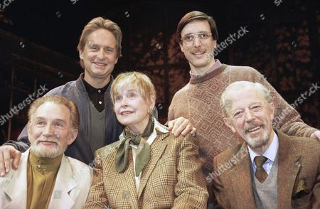 """Actor Michael Douglas, top left, taking a turn as producer, poses with the cast of """"The Best of Friends,"""" which includes his mother, Diana Douglas, center, before they go into rehearsal at the Westside Arts Theater in New York, . His mother is flanked by co-stars Roy Dotrice, left, and Michael Allinson right. Director of the off-Broadway effort, William Partian, glasses, stands with Douglas"""