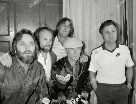 Carl Wilson, Al Jardine, Dennis Wilsin, Mike Love, Bruce Johnston The Beach Boys talk during a press conference in New York on to announce plans for a free concert on July 4th in Atlantic City. The group that Interior Secretary James Watt didn?t want at a July 4th festival in Washington, D.C., will play on the beach in front of Caesar?s Boardwalk Regency. From left: Carl Wilson, Al Jardine, Dennis Wilson, Mike Love and Bruce Johnson