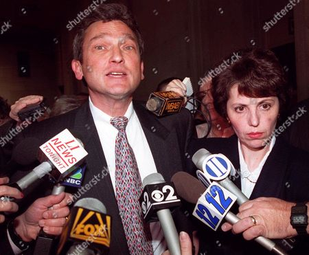 NAIBURG FISHER Eric Naiburg, attorney for Amy Fisher, talks with reporters outside a Mineola courtroom with Fisher's mother, Rose Fisher, following a hearing Oct. 27, 1992. The teenager, awaiting sentencing for the shooting of Mary Jo Buttafuoco, has been hospitalized for treatment of depression after apparent attempts to end her life