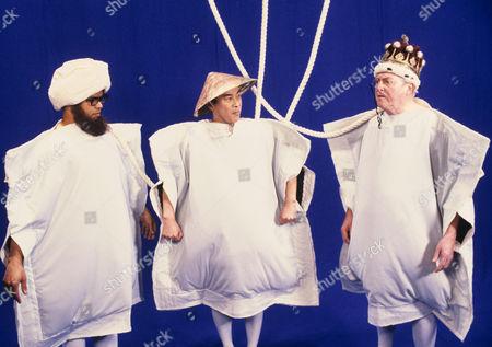 (L-R) Gary Wilmot , Burt Kwouk and Robert Dorning in 'Cue Gary' - 1988