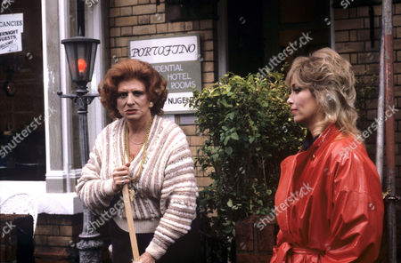 Patricia Phoenix (left) and Prunella Gee in 'Constant Hot Water' - 1986