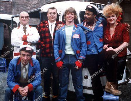 'The Bottle Boys' 1984 - Richard Davies, David Uker, Robin Askwith, Oscar James, Eve Ferrett and Phil McCall.