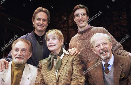 """Michael Douglas, Diana Douglas, Roy Dotrice, Michael Allinson, William Partian Actor Michael Douglas, top left, taking a turn as producer, poses with the cast of """"The Best of Friends,"""" which includes his mother, Diana Douglas, center, before they go into rehearsal at the Westside Arts Theater in New York City. His mother is flanked by co-stars Roy Dotrice, left, and Michael Allinson right. Director of the off-Broadway effort, William Partian, is at top right. Diana Douglas, the first wife of Kirk Douglas and mother of Michael Douglas, has died in Los Angeles. She was 92. Michael Douglas's production company says she died of cancer on Saturday at a movie industry retirement home in Woodland Hills"""