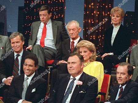 "Stock Picture of WEAVER Personalities of NBC News' ""Today"" show are reunited in New York to film ""Today at 35,"" in this photo. Top row, left to right, Jim Hartz and Betsy Palmer. Second row, Sylvester ""Pat"" Weaver. Third row, Tom Brokaw and Barbara Walters. Bottom row, Bryant Gumbel, Willard Scott, and John Palmer. Sylvester ""Pat"" Weaver, who created NBC's ""Today"" and ""Tonight"" shows, brought opera and a flurry of new commercials to TV and shaped the way Americans watched the infant medium, died Friday night, March 15, 2002 at his Santa Barbara, Calif. home. He was 93"