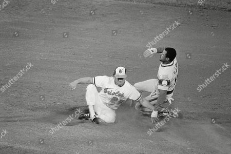 Chicagos Rudy Law, right, makes it safely into second as Baltimores Rich Dauer, left, tries to regain his balance in third inning action of the American League Championship Series at Baltimore Memorial Stadium, Baltimore, Md