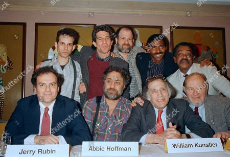 Barry Miller, Jerry Rubin, Michael Lembeck, Abby Hoffman, Jeremy Paul Kagan, Carl Lumbly Bobby Seal Participants in the HBO Showcase Presentation of ?Conspiracy: The Trail of the Chicago 8,? gather at a press conference at New York?s Waldorf Astoria Hotel on . Standing, from left, are Barry Miller, who portrays Jerry Rubin in the show, Michael Lembeck, who portrays Abbie Hoffman, producer Jeremy Paul Kagan, Carl Lumbly, who portrays Bobby Seale, and Seale. Seated from left are Rubin, Hoffman, defense lawyer William Kunstler, and actual trial defendant David Dellinger. The drama will debut on HBO on May 16