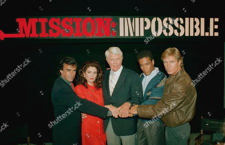 """Peter Graves, center, star of the original """"Mission: Impossible"""" television series that aired from 1966 to 1973, joins fellow cast members of the all-new """"Mission: Impossible,"""" . From left: Tony Hamilton, Thaao Penghlis, Graves, Phil Morris, and Terry Markwell. The new series will be filmed entirely in Australia"""