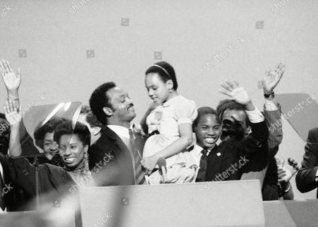 Jesse Jackson, Santita Jackson The Rev. Jesse Jackson holds his daughter Santita aloft as she gives the thumbs up gesture following his moving political sermon to the Democratic National Convention in San Francisco