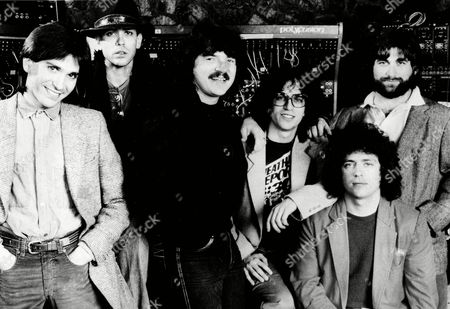 Mike Porcaro, Jeff Porcaro, Bobby Kimball, Steve Porcaro, Steve Lukather; David Paich Dominate record award nominations - The rock group Toto, shown with members, from left: Mike Porcaro, Jeff Porcaro, Bobby Kimball, Steve Porcaro, Steve Lukather and David Paich, led the pack in Los Angeles, in nominations for the 25th annual Grammy Awards, gathering nine nominations, including those for song and record of the year