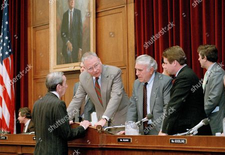 "Lee Hamilton, Warren Christopher, Benjamin Gilman, Robert Borski Secretary of State Warren Christopher, left, talks to members of the House Foreign Affairs Committee prior to testifying before the committee on Capitol Hill in Washington, . Second from left and on are: Rep. Lee Hamilton (D-Ind.), chairman of the committee, Rep. Benjamin Gilman (R-N.Y.), ranking Republican on the committee and Rep. Robert Borski (D-Penn.). Responding to a call for a suspension of U.S. aid to Russia over a major spying incident, Christopher told the committee that the fundamental purpose of the assistance is to ""serve the interest of the United States"