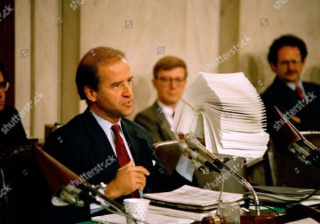 Sen. Joe Biden (D-Del.), chairman of the Senate Judiciary Committee, holds up letters from law professors opposing the confirmation of Judge Robert Bork to the Supreme Court, on Capitol Hill