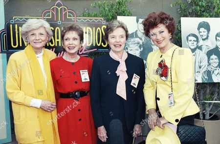 Four of television?s favorite moms gather for a tribute at Universal Studios in Los Angeles, . From left to right are: Barbara Billingsley, ?Leave it to Beaver,? Gloria Henry, ?Dennis the Menace,? Jane Wyatt, ?Father Knows Best,? and Marion Ross, ?Happy Days.? The Mother?s Day event was sponsored by Mothers Against Drunk Drivers and Universal Studios