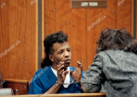 Sylvester Stewart, better known as singer Sly Stone, talks with lawyer Glen Stone in court Los Angeles during arraignment on outstanding cocaine possession charges. The former rock star was extradited from Connecticut
