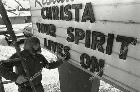 Richard Greene Richard Greene adjusts a letter as he sets up a billboard outside a Concord, New Hampshire motel on . Teacher Christa McAuliffe, who taught at Concord High School, was a crewmember aboard the ill-fated Space Shuttle Challenger
