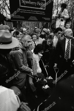 Ground is broken to begin the landscape renovation of part of Central Park in New York to create Strawberry Field in commemoration of John Lennon, . Breaking ground are widow Yoko Ono, center, flanked by John Lennon's two sons, Sean, wearing hat and scarf and Julian, at right. Joining in the ceremony is New York's Mayor Ed Koch, right, and New York City's Park Commissioner Henry Stern, second from left