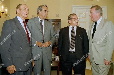 Edwin Meese, Bob Dole, Strom Thurmond, Howard Baker Attorney General Edwin Meese III, right, and White House Chief of Staff Howard Baker meet with Senate Minority Leader Bob Dole of Kansas, second from left, and Sen. Strom Thurmond of South Carolina, left, ranking Republican on the Senate Judiciary Committee of Capitol Hill, . The group met to discuss Supreme Court candidates
