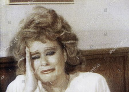 Tammy Faye Bakker gives a tearful account of her husband's treatment by officials at the Federal Correctional Institution at Butner, N.C. The wife of TV evangelist Jim Bakker is shown during her daily TV broadcast from their Orlando TV studio, . Bakker, on trial in Charlotte, N.C. on federal tax charges, suffered an apparent mental collapse