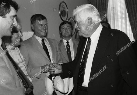 Stock Photo of Speaker of the House Thomas P. O?Neill Jr. of Mass. joined by the Ceann Comhairle (Speaker of the House of Representatives of Ireland),Tom Fitzpatrick, right, meet the star of the television serious ?Dallas? Larry Hagman, left, during a visit by a delegation from Ireland to Capital Hill in Washington, on . Beside O?Neill is Rep. Jim Wright, D-Teaxas, not shown in this photo