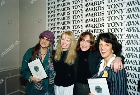 "Stock Image of Page Duncan Plummer Lavin Tony award nominees, from left, Geraldine Page, Lindsay Duncan, Amanda Plummer, and Linda Lavin pose at Sardi's restaurant in New York during a news conference on . The actresses are nominated for their role in ""Blithe Spirit,"" ""Les Liaisons Dangereuse,"" Pygmalion"" and ""Broadway Bound,"" respectively. Page and Lavin are holding their Antoinette Perry ""Tony"" Award nomination certificates"