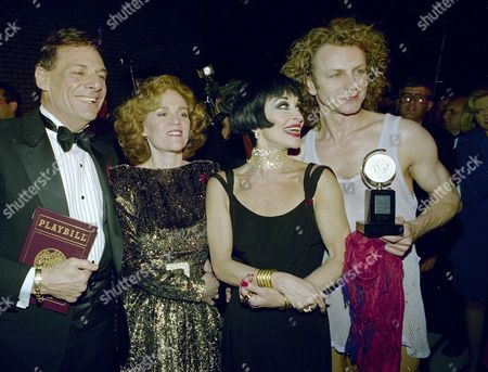 "Broadway's best actors, from left to right, Ron Leibman, Madeline Kahn, Chita Rivera and Brent Carver gather together to show off their Tony Awards backstage at the Gershwin Theater in New York following the presentation of the awards, . Leibman won for his role in ""Angels In America,"" Kahn for ""The Sisters Rosensweig,"" Rivera for ""Kiss of the Spider Woman,"" and Carver for ""Kiss of the Spider Woman"