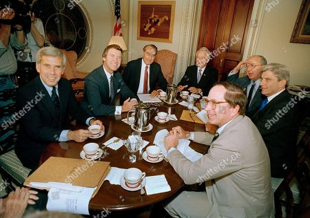 Robert Byrd, Richard Lugar, William Cohen, Bob Dole, Jesse Helms, John Warner, Sam Nunn Senate leaders hold a meeting on Capitol Hill to discuss the ratification of the U.S.-Soviet treaty banning medium-range nuclear missiles, . From left, around the table are: Sens. Richard Lugar (R-Ind.), William Cohen (R-Maine), Minority Leader Bob Dole of Kansas, Majority Leader Robert Byrd of West Virginia, Jesse Helms (R-N.C.), John Warner (R-Va.) and Sam Nunn (D-Ga