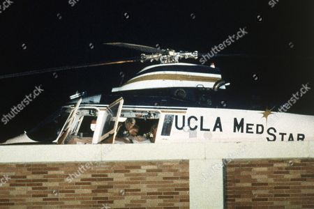 Rock Hudson US screen star Rock Hudson lays on a stretcher inside the helicopter that transported him to UCLA Medical Center in Los Angeles, United States, on early . Hudson returned to Los Angeles from Paris on a chartered jetliner. Hudson had gone to Paris to see an AIDS specialist