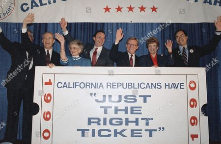 Pete Wilson, Marian Bergeson, Daniel Lungren, Thomas Hayes, Joan Flores, Matt Fong Victorious Republicans in Tuesday's California primary gather at unity breakfast in Los Angeles, . Candidates are, left to right, Pete Wilson, governor; Marian Bergeson, lieutenant governor; Daniel Lungren, Attorney General; Thomas Hayes, treasurer; Joan Flores, Secretary of State; and Matt Fong, controller