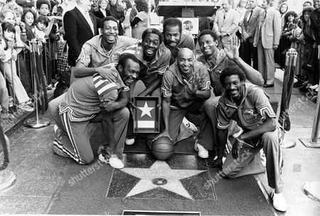 "Globetrotters The Harlem Globetrotters are honored with a star in the Hollywood Walk of Fame, the 1,741st, on Hollywood Blvd., Ca., . The Globetrotters became the first athletic team to be honored with a star on the sidewalk. Posing from left to right are, Billy Hobley, Dallas Thornton, Hubert ""Geese"" Ausbie, Nate Branch, Fred ""Curly"" Neal, Robert Paige and Gator Rivers"