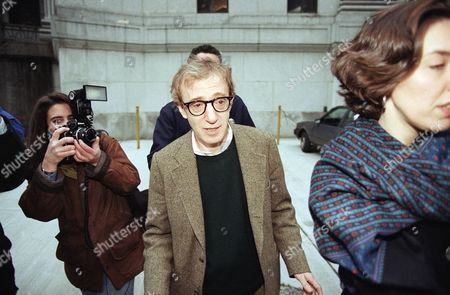 Stock Photo of Woody Allen leaves State Supreme Court in New York, after former lover Mia Farrow testified in the custody case she is fighting with him. Farrow testified that Allen's affair with her adopted daughter Soon-Yi Previn began when Previn was still in high school