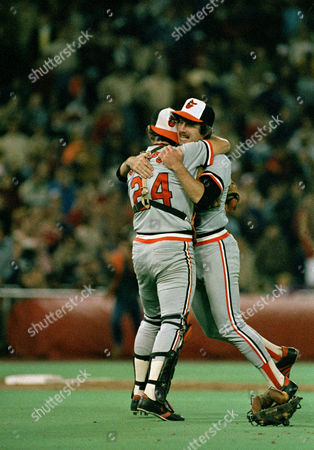 Baltimore Orioles' Rick Dempsey embraces Scott McGregor after the Orioles defeated the Philadelphia Phillies in the World Series, at Veterans Stadium, Philadelphia