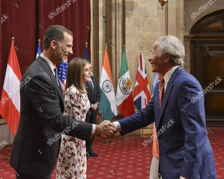 Queen of Spain Queen Letizia and King Felipe VI greet Richard Ford