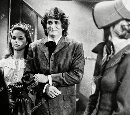 """United States """"LITTLE HOUSE ON THE PRAIRIE Actress Melissa Sue Anderson, left, who plays Mary for the television series """" Little House on the Prairie"""" is escorted by actor Michael Landon, who plays her father, are shown during the taping of Mary's wedding scene in Los Angeles, Calif"""