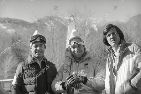 Karl Schranz, Sepp Ferstl, Bernard Russi Karl Schranz (Austria), Sepp Ferstl, the West German alpine medal hope, and Bernard Russi (Switzerland) pictured at White Face mountain, the site for the Olympic events Alpine, during practice, in Lake Placid