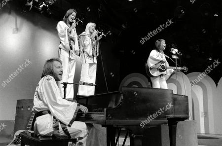 """Swedish rock group """"ABBA"""" performs on the public television show """"Wonderama"""" at WNET-TV in New York City on . Left to right are, Benny Anderson, Anni-Frid Lyngstad, Agnetha Faltskog and Bjorn Ulvaesus"""