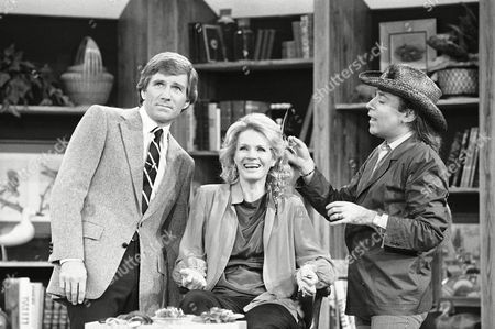 Angie Dickinson, Gary Collins, Jose Eber Actress Angie Dickinson gets her hair done by stylist Jose Eber as Gary Collins, left, host of syndicated ?Hour Magazine? television program, watches the activity during taping of the show on in Los Angeles. Miss Dickinson was a guest on the show, due to be telecast in January