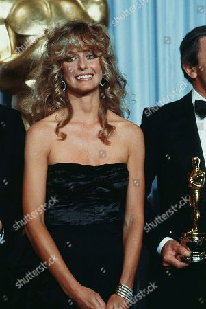 Actress Farrah Fawcett-Majors shown at Academy Awards Presentations in Los Angeles on . Good variety of expressions and reactions or sequence