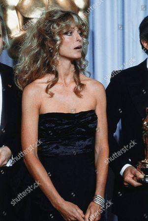 Actress Farrah Fawcett-Majors shown at Academy Awards Presentations in Los Angeles on