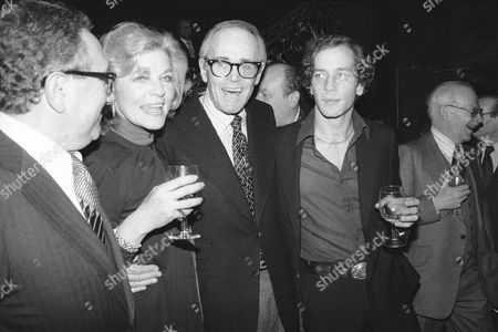 "Actress Lauren Bacall, center, attends party to launch her book, an autobiography ""By Myself"" at the Palace Theater in New York City, . At left is Henry Kissinger and at right is actor Henry Fonda. At far right is Stephen Bogart, son of Bacall and the late Humphrey Bogart. The party was given by Bacall's publisher Knopf Book Company"