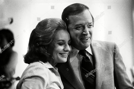 Television newswoman Barbara Walters and former NBC Today show host Hugh Downs hug during airing of Walters' final live broadcast as co-host of the morning news program, at the NBC studios in New York City, . Walters will join ABC as co-host and anchorwoman of the rival networks' evening news program