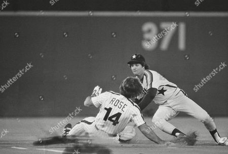 Phillies Pete Rose (14) is too late on steal attempt at second and is tagged by Houston Astros Craig Reynolds in third inning of National League game at Philadelphia