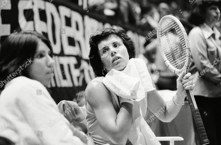 Billie Jean King, Rosemary Casals Billie Jean King of the United States takes a break between games to dry off and discuss a little strategy with teammate Rosemary Casals, left, during the Federation Cup tennis tournament in Philadelphia on . Ms. King went on to defeat her opponent, Mima Jausovec of Yugoslavia 6-0, 7-6