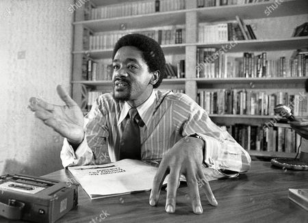 Bobby Seale during interview in his office in Oakland on . He?s running for mayor of Oakland and wears tie and shirt nowdays
