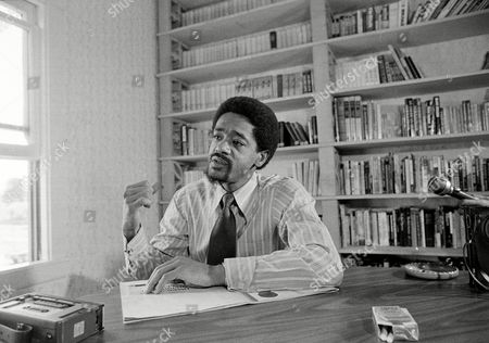 Black Panther leader Bobby Seale, who is running for mayor in Oakland, Calif., is seen during an interview at his office, on