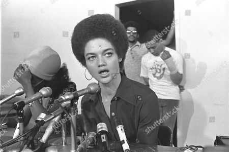 """Kathleen Cleaver tells a San Francisco news conference, she believes the U.S. Central Intelligence Agency is """"the main source"""" behind alleged threats to assassinate her husband, Black Panther Eldridge Cleaver, who has been self-exiled in Algeria for four years. Mrs. Cleaver said her husband, a fugitive from California justice, wants to return to the United States to """"resume the struggle"""" and is willing to stand trial, but not willing to go to prison before trial"""