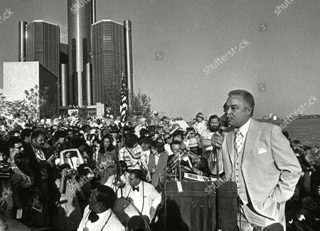 YOUNG In front of the Renaissance Center in Detroit. Young, a tailor's son who overcame racism to become Detroit's first black mayor and presided over his adopted city for an unprecedented five terms, died of respiratory failure at age 79