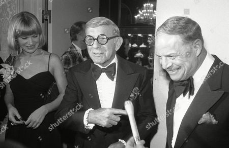 Comedian Don Rickles, right, jokes with George Burns and friend Lisa Miller at a cocktail party, prior to the Friars Club annual dinner on at the Beverly Hilton, Beverly Hills. Burns is the guest of honor and Rickles is master of ceremonies at the dinner, joined by many celebrities including Helen Reddy, Hilton Berle, Phil Silvers Connie Stevens, George Jessel and Tony Martin